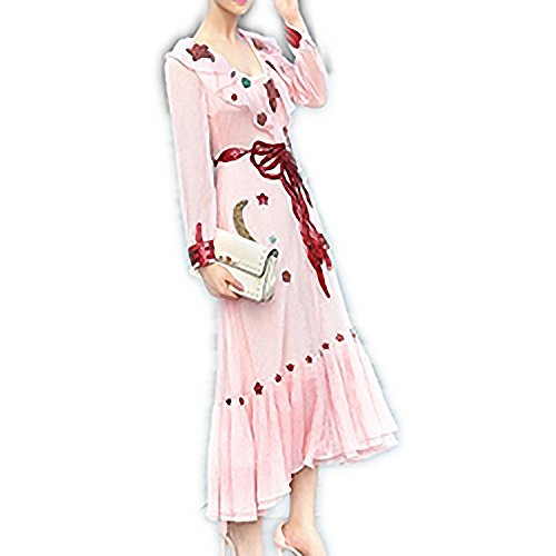 Venetia Morton Fashion Runway Dress Brand Pink Long Dress Autumn Women Smart A-Line Beading Long Sleeve Ankle-Length Dress Multi L by Venetia Morton adult-exotic-dresses