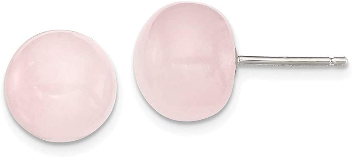 Plata 1ª Ley 925 Pendientes Cuarzo Rosa Natural 10MM Nuevos.