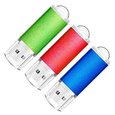 SumDuta 3 Pack 16GB USB 2.0 Flash Drive Thumb Drives Memory Stick Zip Drive (3 Colors: Blue Green Red) by Sosun Tech