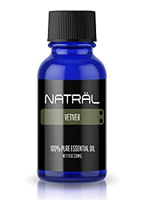 NATRÄL Vetiver, 100% Pure and Natural Essential Oil, Large 1 Ounce Bottle