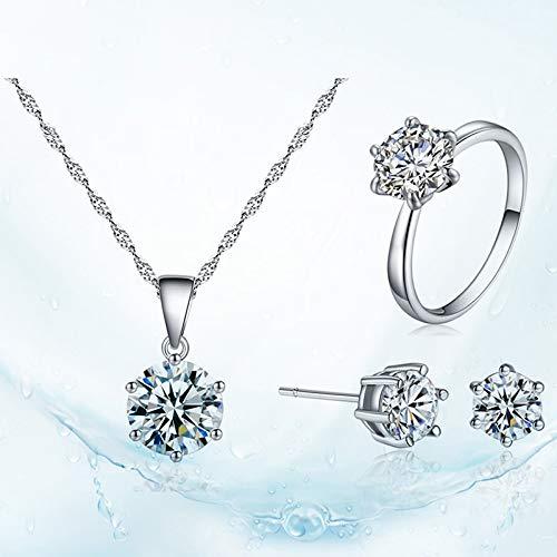 Lot de 3 Shuda Pendentif en Cristal Collier Boucles doreilles Bague Ensemble /él/égant Style Simple Bijoux Cadeaux danniversaire pour Anniversaire de Mariage