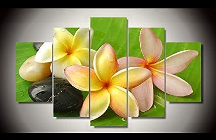 Bihuacsq Hd Imprimé 5 Pcs Toile Art Fleur Peinture Moderne