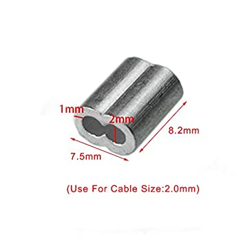 """50pcs 5/64""""Aluminum Cable Crimps Sleeves Cable Ferrule Clip Fittings for Crimping Wire Rope Cable FLQ049-2.0"""
