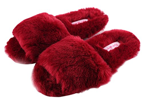 Women's Toe Open House Red Velvet Slippers Color Pure Shoes Soft qrWqHvUg1