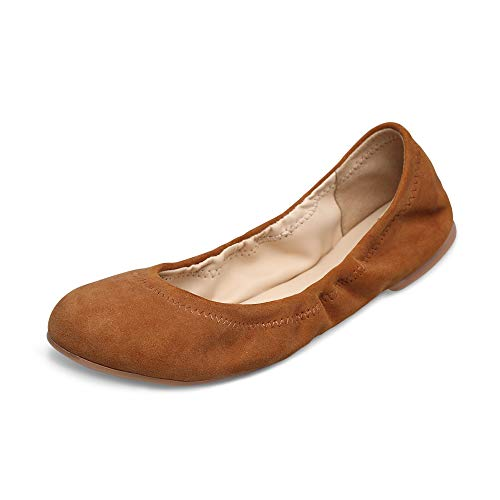 - Xielong Women's Emmie Chaste Ballet Flat Lambskin Loafers Casual Ladies Shoes Leather (10B(M) US, Brown-Suede)