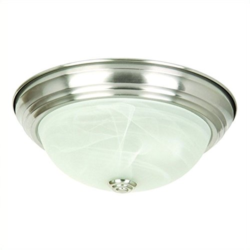 JK103-16SN Belen 3-Light 16-Inch Ceiling Flush Mount, Satin Nickel Frame (16 Inch Width Flush Mount)