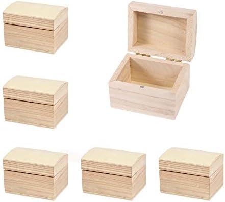 Mini Holztruhe mit Scharnierdeckel und Magnetverschluss, ca. 7,8 x 6 x 5,8 cm, Inhalt: 5 Stück - Schmuckkästchen, Holzbox, Holzschachtel, Geschenkschachtel, Mini Schatzkiste
