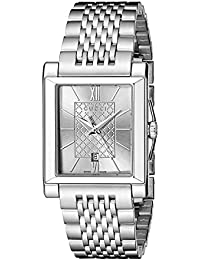 G-Timeless Rectangle Analog Display Swiss Quartz Silver-Tone Men's Watch(Model:YA138501)