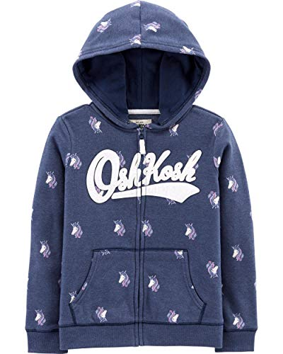 Osh Kosh Girls' Little Full Zip Logo Hoodie, Navy Unicorn, ()