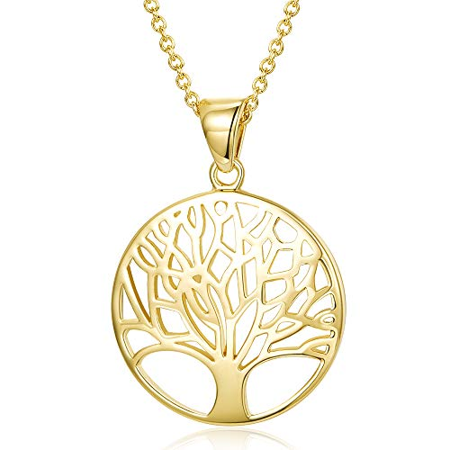 AGVANA Yellow Gold Filled Tree of Life Pendant Necklace Fashion Jewelry Gifts for Women Girls with Gorgeous Jewelry Box