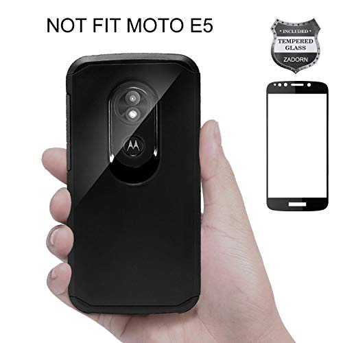 ZADORN Moto E5 Play Phone Case/Moto E5 Cruise Phone Case with Full Cover Tempered Glass Screen Protector, Heavy Duty Shock Proof Protective Phone Case for Motorola E Play (5th Gen) -Black