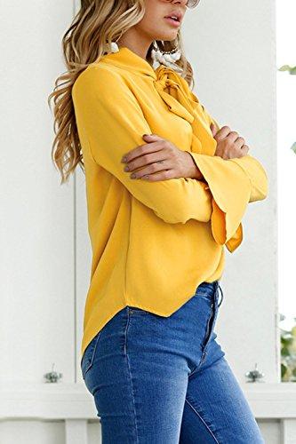 Tee Le Ruffle Chemisier Haut des Bureau Shirts Blouses Les Arc Femmes Jaune De Chemise Noeud xCtqIwOzX