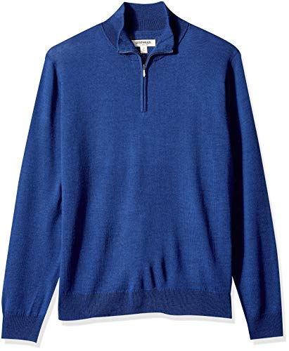 Goodthreads Men's Merino Wool Quarter Zip Sweater, Bright Blue, XX-Large