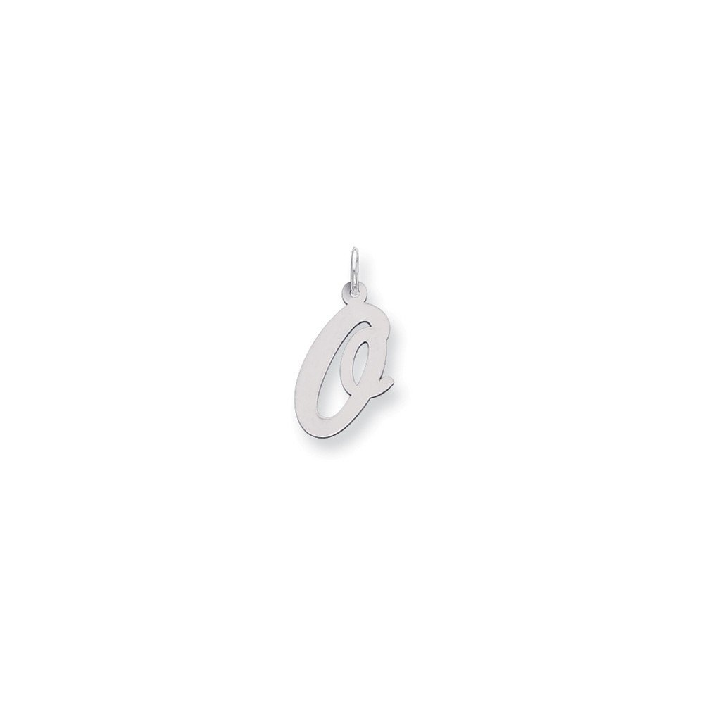 Sterling Silver Large Script Initial O Charm Pendant