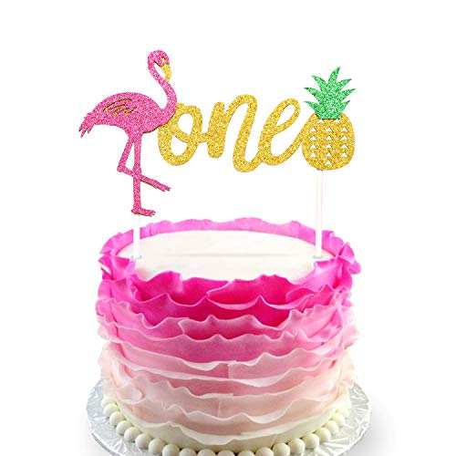 Flamingo Pineapple 1st First Birthday Cake Toppers Decoration Glitter One Tropical Hawaiian Luau Themed Party Supplies]()