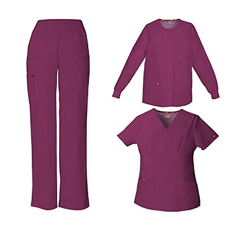 Dickies Everyday Scrubs Signature Women's 3-Piece Scrub Set Large Tall Wine by Dickies
