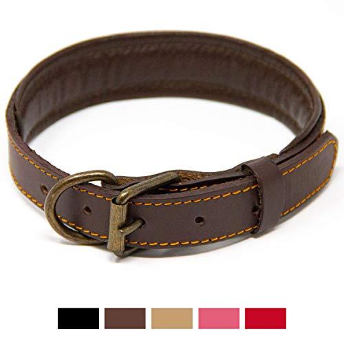 Logical Leather Padded Dog Collar - Best Full Grain Heavy Duty Genuine Leather Collar - Brown - Medium