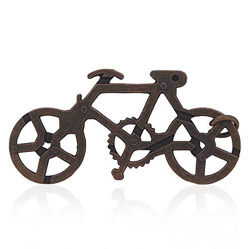 Matoen New Bicycle Puzzle Magic Bicycle Lock Cast Metal Brain Teaser Magic Trick Toy IQ&EQ Test Toys (A, ()