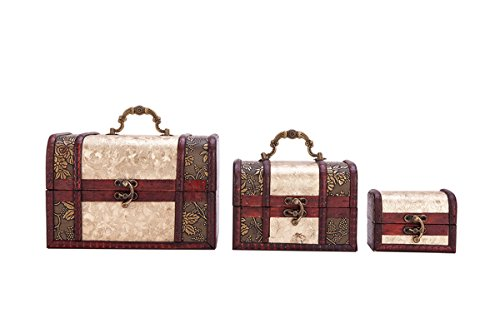Vintage Wooden Embossed Flower Pattern Jewelry Treasure Box Storage Organizer Trinket Keepsake Chest Pack of 3 by THY COLLECTIBLES