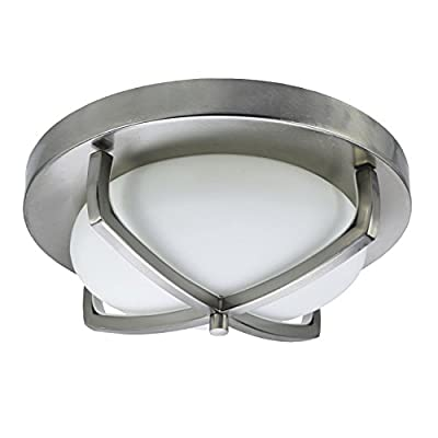 """HomeSelects 6164 Industrial Chic Flush Mount Ceiling Light, Brushed Nickel with Opal Glass Globe, 12""""L x 12""""W x 4.5""""H"""