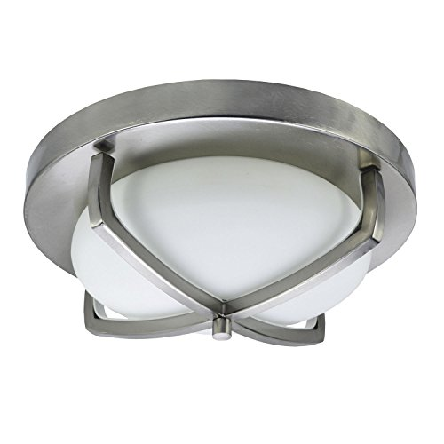 (HomeSelects 6164 Industrial Chic Flush Mount Ceiling Light, Brushed Nickel with Opal Glass Globe, 12