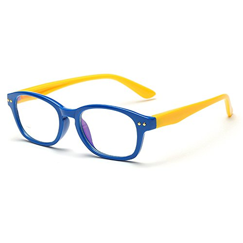 Fantia Kids eyeglass Frame Children Soft Non-Optical Frames Clear Lens (Dark Blue)