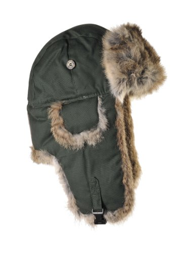 (Mad Bomber Original Moss Green Aviator Pilot Hat Real Rabbit Fur Trapper Hunting Cap, Medium)