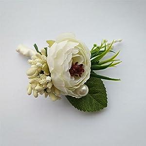 6 Pieces/lot Groom Boutonniere Man Buttonholes Wedding Flowers Party Decoration (Ivory) 3