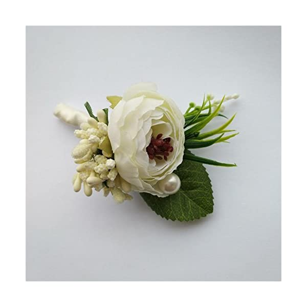 6-Pieceslot-Groom-Boutonniere-Man-Buttonholes-Wedding-Flowers-Party-Decoration-Ivory