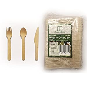 330 piece Wooden Disposable Cutlery Set 110 Forks 110 Spoons 110 Knives 6 inch Party Catering Supplies 100% Natural Eco Friendly Biodegradable Compostable Utensils Picnic Accessories Safe for Children