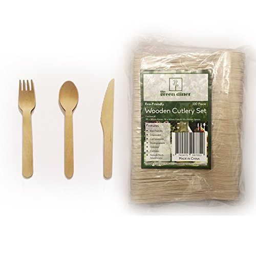 330 piece Wooden Disposable Cutlery Set 110 Forks 110 Spoons 110 Knives 6 inch Party Catering Supplies 100% Natural Eco Friendly Biodegradable Compostable Utensils Picnic Accessories Safe for - Shopping St Walnut
