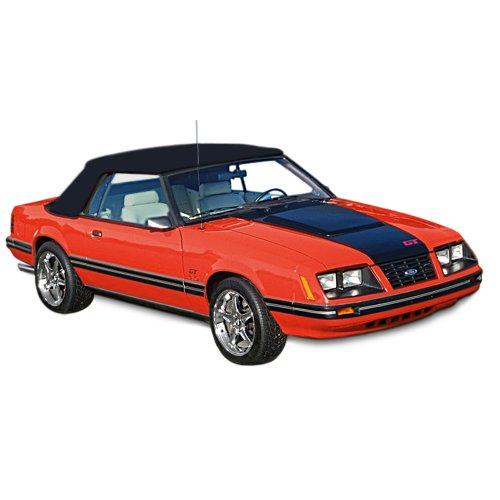 Ford Mustang Convertible Top for 83-90 Models in Pinpoint Vinyl with Plastic Window, Black - Ford Mustang Plastic Rear Window