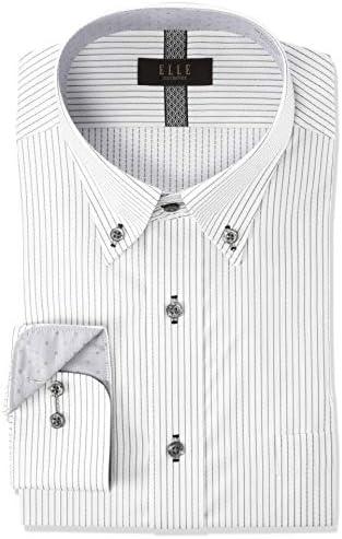 ELLE costumes・形態安定・長袖・ワイシャツ GED304 メンズ 480-グレー-ボタンダウン 日本 M(39-78) (日本サイズM相当)
