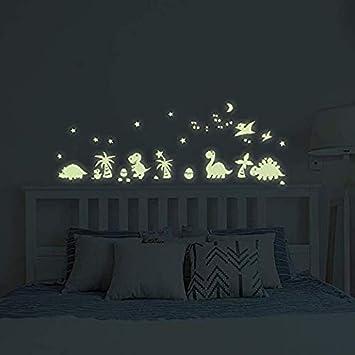 Pegatinas De Pared Que Brillan En La Oscuridad Decoración De Dinosaurios De Benbo Pegatinas De Pared De Vinilo Luminoso Para Niños Niñas Dormitorio Hogar Guardería Baby