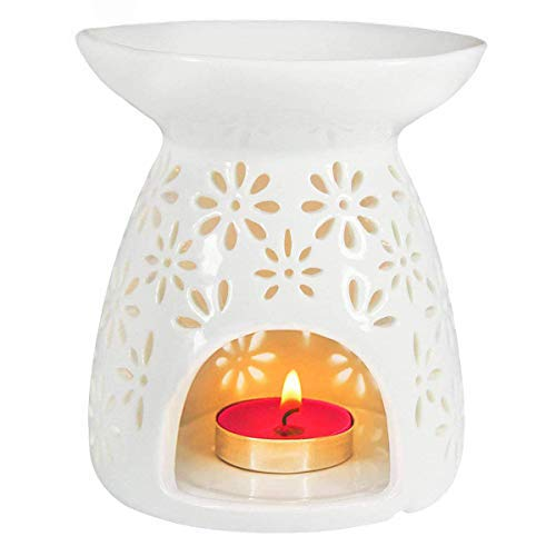 Ivenf Ceramic Tea Light Holder, Aromatherapy Essential Oil Burner, Great Decoration for Living Room, Balcony, Patio, Porch and Garden, Vase ()