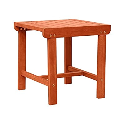 Malibu V1802 Outdoor Patio Wood Side Table, Natural - 1 year warranty against manufacturing defects Fast and easy to assemble Natural Wood Finish - patio-tables, patio-furniture, patio - 41Zucjs3G8L. SS400  -