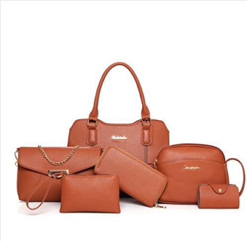 Et WUYY Femmes Sac En Mode Chaîne Bag Épaule Sac Loisirs Cuir Messenger Amérique Europe Femelle Pcs PU Sac 6 Sac Retrobrown OfOqxrwB