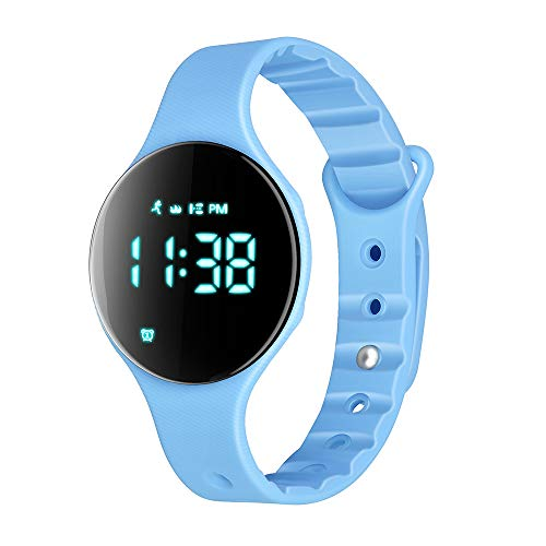 (iGANK Pedometer Watch, T6A Non-Bluetooth Smart Bracelet Fitness Tracker Watch Walking Step Counter/Calorie Burned/Distance/Alarm/Stopwatch for Kids Men Women (Blue))