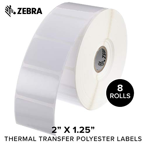 (Zebra - 2 x 1.25 in Thermal Transfer Polyester Labels, Z-Ultimate 3000T Permanent Adhesive Shipping Labels, Zebra Desktop Printer Compatible, 1 in Core - 8 Rolls)