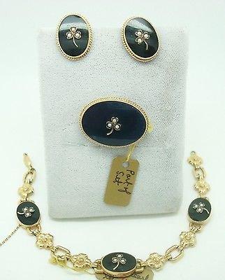 Earrings 10k Gold Onyx - 10K GOLD 4-PIECE ONYX BRACELET, PIN & EARRING SET (#1664)