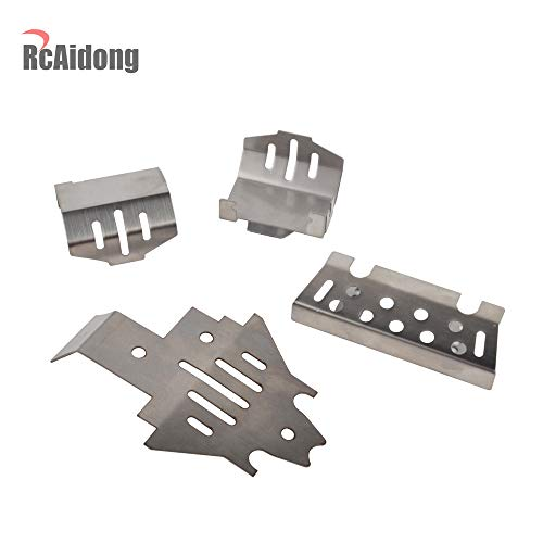RC Steel Front Bumper Lower &Axle Armor Protection &Chassis Armor Protection Skid Plate Set for TRAXXAS TRX4