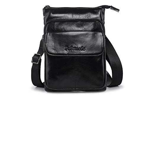Pofomede Shoulder Bag Men, Small Cross Body Bag Messenger Purse Travel Bag Leather Multi-pocket Crossbody Wallet Satchel Handbag Casual Day Pack Organizer Carrying Bag Hiking Work Outdoor Sports Black