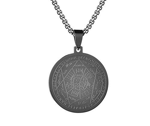(LiFashion LF Stainless Steel Sigil of Archangel Gabriel Healing Round Tag Pendant Inscription Bible Prayer Necklace for Men Women Talisman Amulet Jewelry,Black)