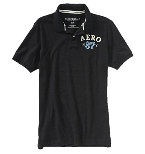 Aeropostale Men's Graphic Polo Shirt Aero 87 Medium Black (Mens Graphic Applique Polos)