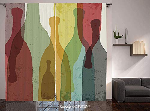 Thermal Insulated Blackout Window Curtain [ Wine,Abstract Composition with Watercolor Silhouettes Bottles of Wine Whiskey Tequila Vodka Decorative,Multicolor ] for Living Room Bedroom Dorm Room Classr