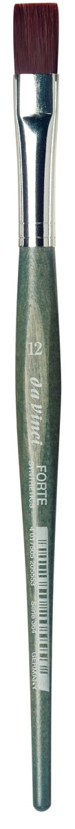 da Vinci Modeling Series 364 Forte Gaming and Craft Brush, Flat Extra-Strong Synthetic with Blue-Green Handle, Size 12