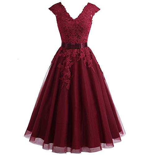 Jdress Women's Vintage Short Tea Length Lace Wedding Dresses for Bride - Tulle Tea Dress Wedding Length