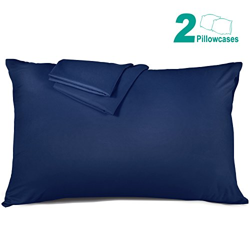 Adoric Queen Pillowcases, 100% Brushed Microfiber Pillowcase Protector, Ultra Soft Wrinkle Free Stain Resistant Allergy Protection Pillow Covers Standard Size (Set of 2, Blue)