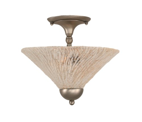 Toltec Lighting 120-BN-709 Two-Bulb Semi-Flush Mount Brushed Nickel Finish with Italian Ice Glass Shade, (Italian Nickels)