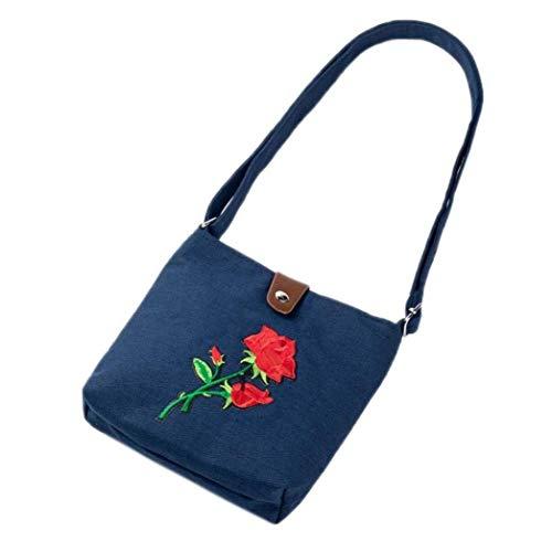 delle del ricamo Moontang Colore donne spalla Blu postino del Borsa Dimensione del Nero borse a eleganti delle tracolla della borsa di pacchetto n0r0Zwq6U